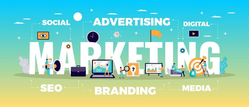digital marketing concept with online advertising manh tuong media agency
